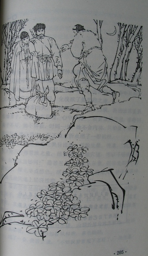 The illustration for the final chapter of The Fox Volant of Snow Mountain, in which Miao Renfeng sees Hu Fei with Miao Ruolan