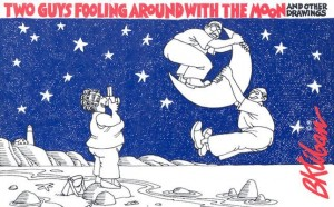 two guys fooling around with the moon