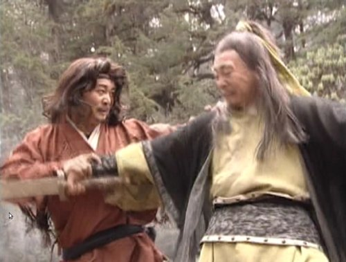 Two characters engage in a mix of sword-fighting and hand-to-hand combat