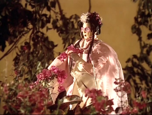 A pretty woman (puppet) with lots of pink flowers.