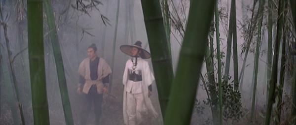 Leng Yushang and Changchun walk through a misty bamboo forest.