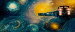 The Alishan alpine goes through Van Gogh's Starry Starry Night